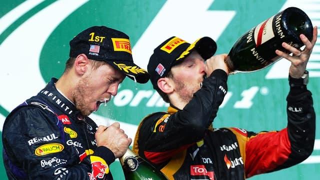 Sebastian Vettel et Romain Grosjean