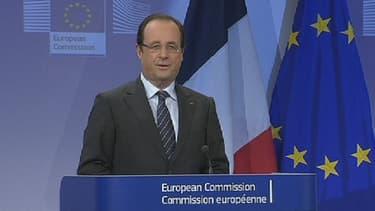 François Hollande lors de sa conférence de presse à Bruxelles ce 15 mai