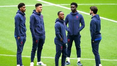 Marcus Rashford, Jandon Sancho, Raheem Sterling et Bukayo Saka, à Londres le 29 juin 2021