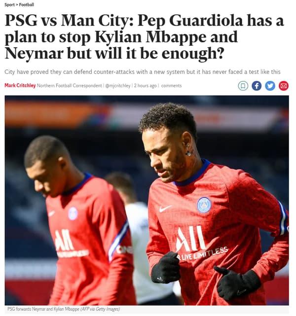 Le plan de Guardiola pour arrêter le duo Neymar-Mbappé à la Une de The Independent