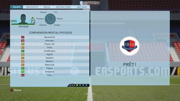 La fiche du même Dembélé à FIFA 16