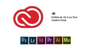 Adobe : 20% sur le Creative Cloud, avec Photoshop, InDesign ou encore Premiere Pro inclus