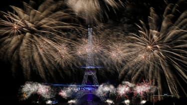 Le feu d'artifice du 14 juillet 2019 à Paris.