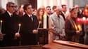 Le Premier ministre Francois Fillon et Philippe De Villiers (à gauche), président du Conseil général de Vendée, assistent à la messe célébrée en la cathédrale de Luçon à la mémoire des 29 victimes de la tempête en Vendée. Une messe pour l'ensemble des 53