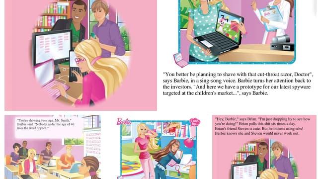 """Sur Twitter, les internautes parodient les vignettes du livre """"Barbie: je peux être ingénieur informatique"""" en masse."""