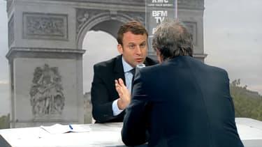 Emmanuel Macron face à Jean-Jacques Bourdin.