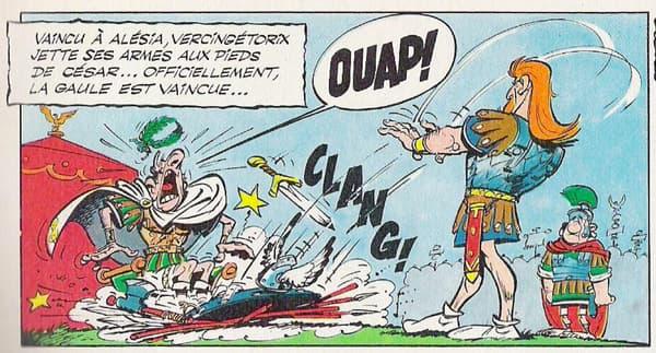 """Vercingétorix déposant ses armes aux pieds de Jules César, dans """"Le bouclier arverne"""", paru en 1967"""