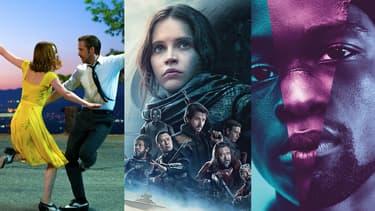 Affiches de La La Land, Rogue One et Moonlight.