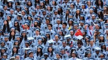 Des étudiants lors de la cérémonie de remise des diplômes à l'université Columbia à New York (États-Unis), le 18 mai 2016.