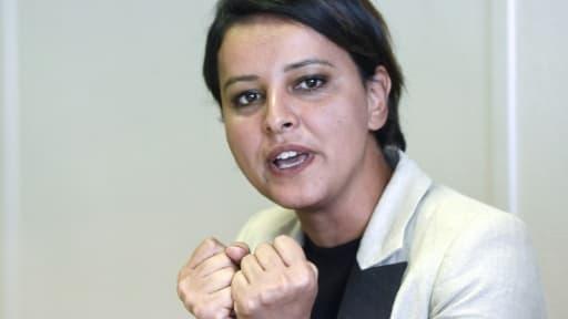 Najat Vallaud-Belkacem, s'exprime lors d'un meeting électoral à Villeurbanne, le 22 mai 2017