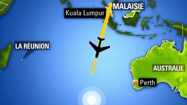 L'itinéraire supposé du MH370, le 8 mars 2014.