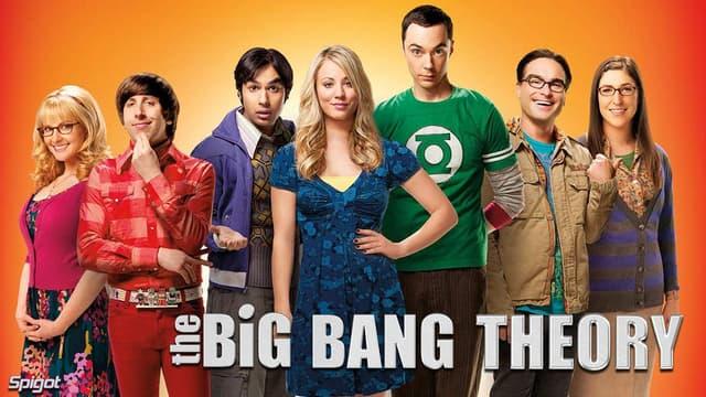 """Sheldon et Leonard entourés de leur bande d'amis geeks de """"The Big Bang Theory""""."""