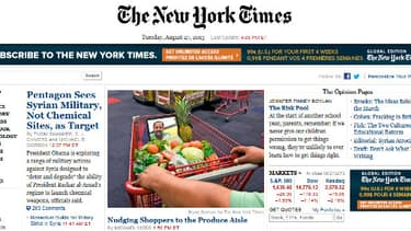 Le site du New York Times, mardi soir.