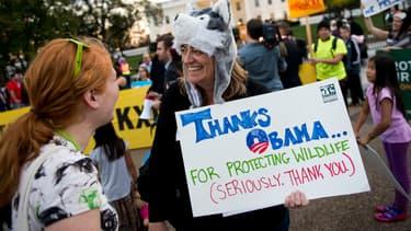 Les opposants au projet Keystone XL se sont réunis devant la Maison Blanche pour remercier Barack Obama.