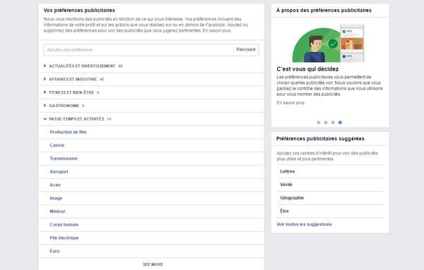 La liste de nos centres d'intérêt selon Facebook