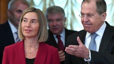 Le ministre russe des Affaires étrangères, Sergueï Lavrov, le 24 avril 2017 lors d'une conférence de presse avec son homologue européenne, Federica Mogherini à Moscou