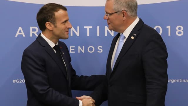 Emmanuel Macron et le Premier ministre australien Scott Morrison, lors du G20 de Buenos Aires en novembre 2018