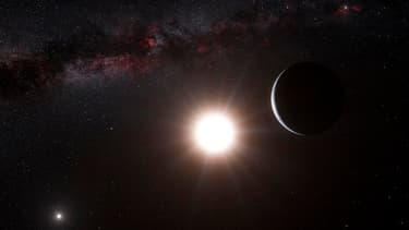 Vue d'artiste de la planète en orbite autour d'Alpha du Centaure B. Des astronomes suisses ont découvert une nouvelle exoplanète, la plus proche connue de notre système solaire, ce qui accroît les chances de trouver un jour une planète habitable dans le v