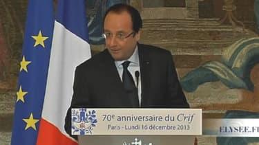 François Hollande, président de la République, le 16 décembre devant le Conseil représentatif des institutions juives de France (Crif).