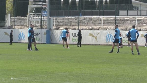 Les Marseillais à l'entraînement, avec Thauvin et Alvaro, le 22 avril 2021.