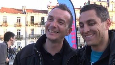 Vincent Autin (g.) et son futur marié Bruno, mardi, à Montpellier.