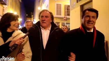 De gauche à droite: Denise Fabre, Gérard Depardieu et Christian Estrosi.