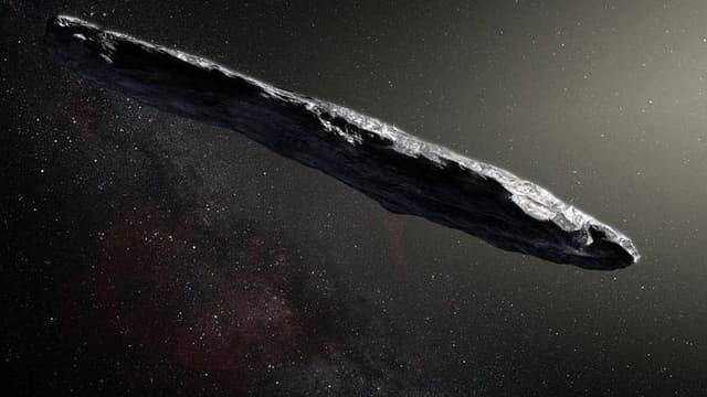 """La forme très allongée d'""""Oumuamua"""", intrigue les astronomes. (vue d'artiste)"""