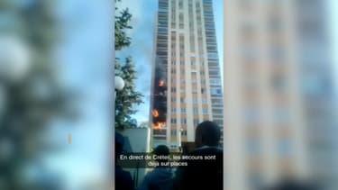 Un incendie s'est propagé sur plusieurs étages d'une tour de Créteil ce vendredi.