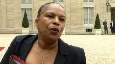 La Garde des Sceaux Christiane Taubira à la sortie du Conseil des ministre, mardi 7 mai 2013.