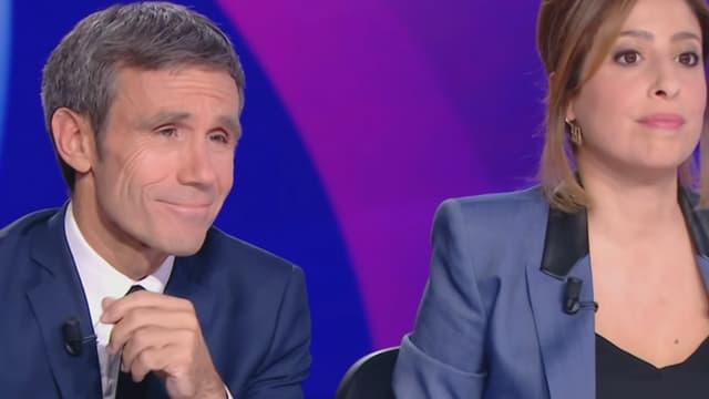 """David Pujadas et Léa Salamé sur le plateau de """"15 minutes pour convaincre"""", le 20 avril"""