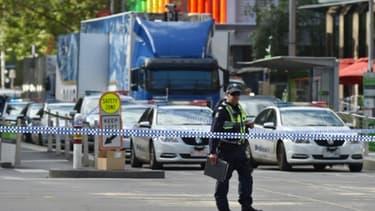 Cordon de police à Bourke Street où un conducteur a foncé sur la foule, le 20 janvier 2017 à Melbourne, en Australie
