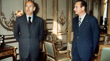Valéry Giscard d'Estaing, alors président de la République, et Jacques Chirac, son Premier ministre, le 24 décembre 1974 à Paris