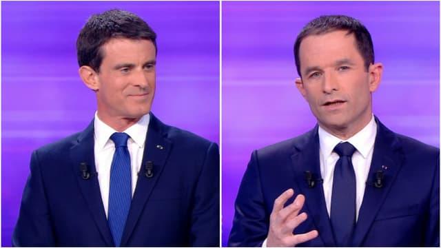 Manuel Valls et Benoît Hamon lors du dernier débat de la primaire de la gauche, le 25 janvier 2017