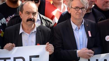 Le leader de la CGT, Philippe Martinez, et celui de FO, Jean-Claude Mailly