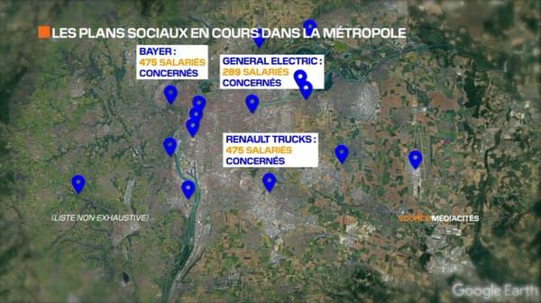 La carte des plans sociaux en cours dans la métropole lyonnaise