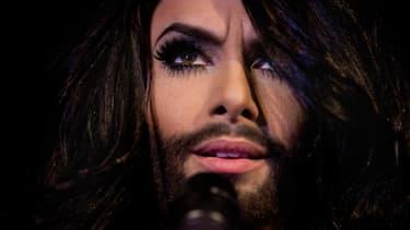 Conchita Wurst, candidat drag queen autrichien au concours de l'Eurovision, le 1er mai dernier à Copenhague.