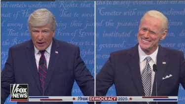 "Alec Baldwin en Donald Trump et Jim Carrey en Joe Biden sur le plateau de ""SNL"""