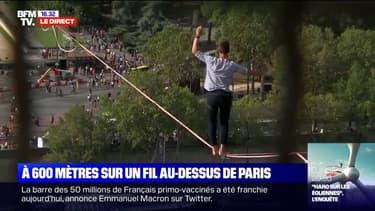 Paris: le funambule Nathan Paulin s'est élancé depuis la Tour Eiffel