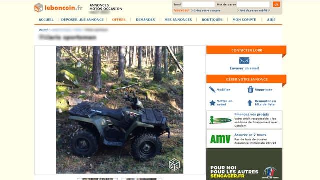 Annonce d'un quad sur le site le Bon coin. (Illustration)