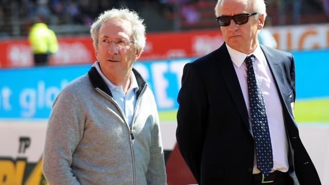 Franck Riboud, le PDG de Danone (à gauche), et Patrick Trotignon, le président d'Evian TG (à droite)