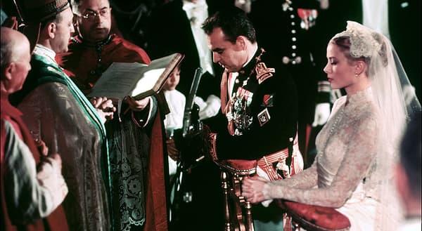 Le mariage de Grace Kelly et du prince Rainier, à Monaco, en 1956.