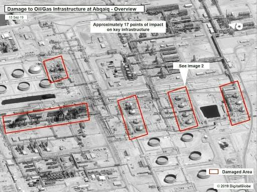 Les infrastructures impactées sur le site d'Abqaïq vues par satellite.