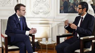 Sundar Pichai, le directeur général de Google a rencontré Emmanuel Macron à Versailles lors du sommet Choose France
