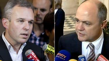 """François de Rugy, député EELV, à gauche sur la photo, trouve les propos du chef des députés PS Bruno Le Roux, à droite sur la photo, """"pathétiques voire indécents""""."""
