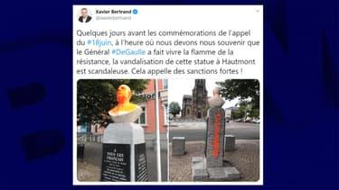 Un buste du général de Gaulle recouvert de peinture à Hautmont.