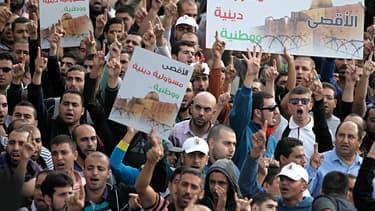 Une manifestation le 15 octobre autour de l'Esplanade des Mosquées, où les tensions entre Israéliens et Palestiniens se sont accentuées depuis le début du mois.