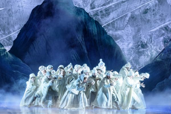 """La troupe de la comédie musicale """"La Reine des Neiges"""" sur scène"""