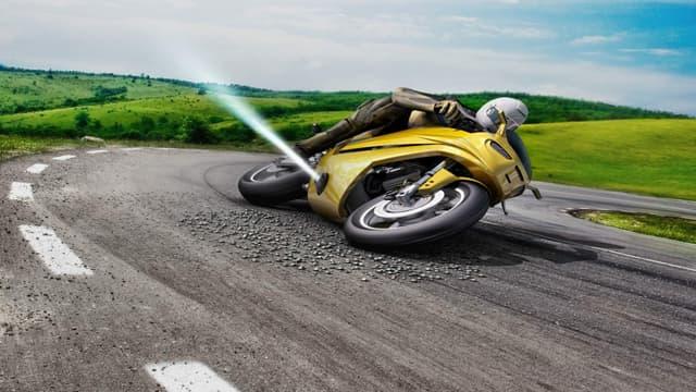 Un risque de déraper dans un virage? Pas de problème votre rétrofusée s'active pour stabiliser votre moto. Une innovation sur laquelle Bosch travaille actuellement.