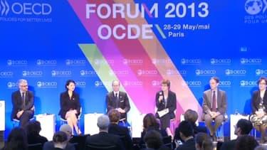 Pascal Saint-Amans, Fleur Pellerin, Luc Frieden, Vanessa Houlder, William Morris et Loretta Minghella le 29 mai à l'OCDE