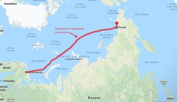 Trajet de l'Akademik Lomonosov entre Mourmansk et Pevek